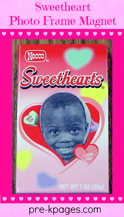 Valentine's Day Sweetheart Photo Frame Magnet Craft for preschool and kindergarten