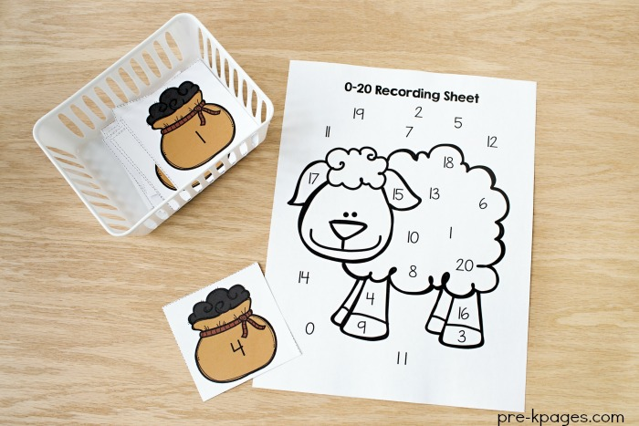 Printable Baa Black Sheep Number Game For Preschool Numeral Recognition