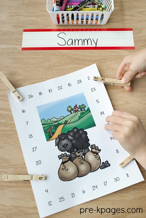 Printable Baa Baa Black Sheep Number Recognition and Fine Motor Activity