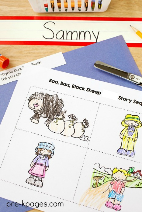 Printable Baa Baa Black Sheep Nursery Rhyme Sequence Pictures