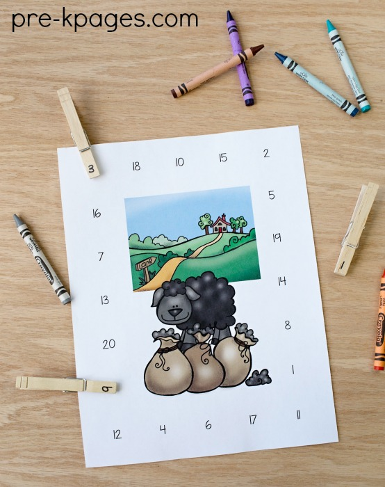 Hey Diddle Diddle Nursery Rhyme Number Clip Activity
