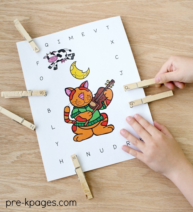 Hey Diddle Diddle Nursery Rhyme Uppercase Clip Activity