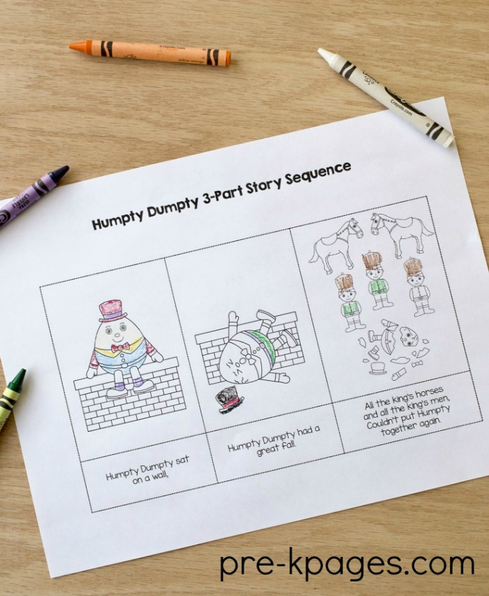Humpty Dumpty 3 part story sequence printable