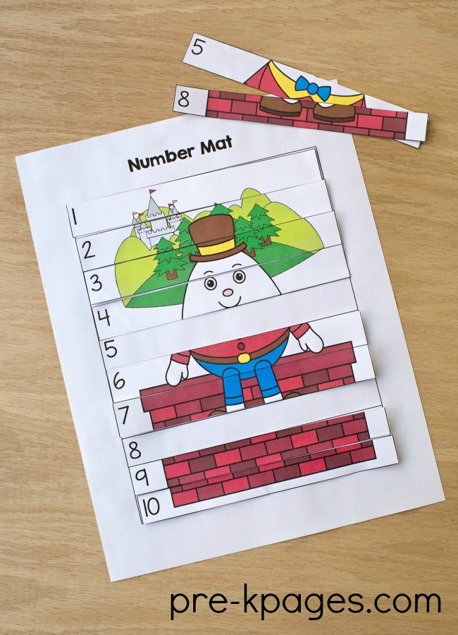 Humpty Dumpty Printable Number Puzzle