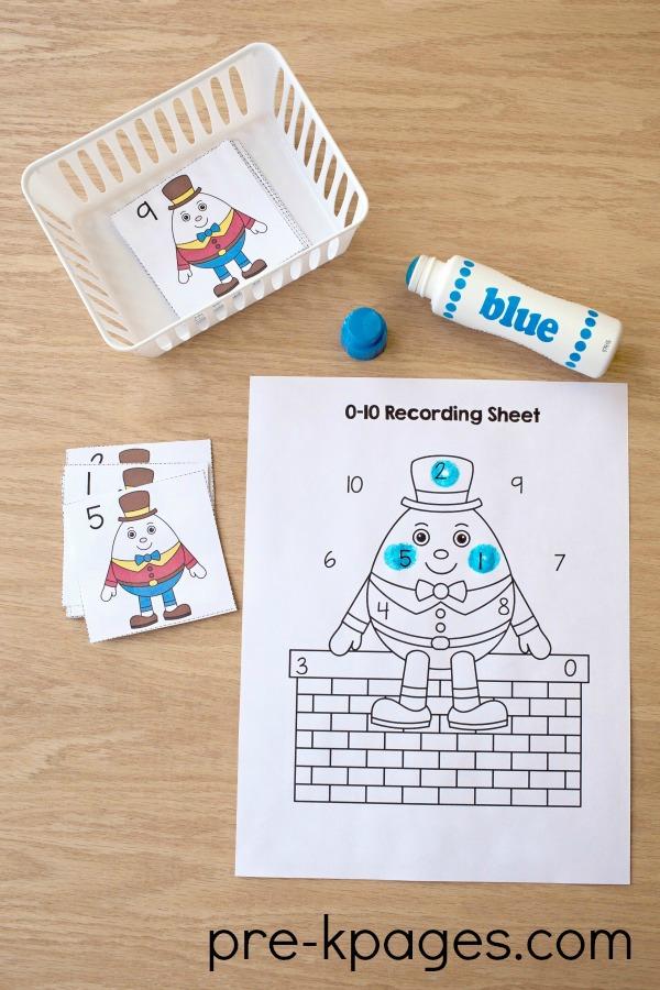 Humpty Dumpty Printable Numbers Game