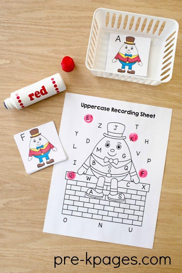 Printable Humpty Dumpty Bingo Dot Uppercase Letter Game
