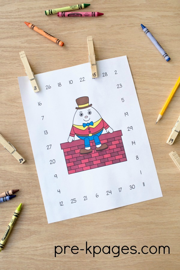 Printable Humpty Dumpty Numeral Identification Game