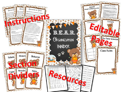 Printable Parent Communication Notebook: BEAR theme
