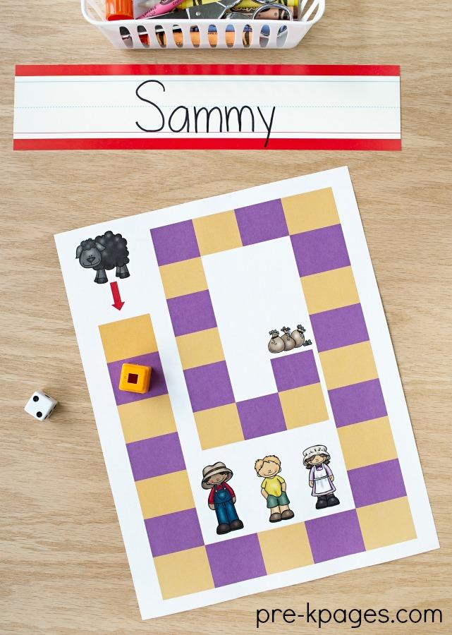 Baa Baa Black Sheep Nursery Rhyme Board Game