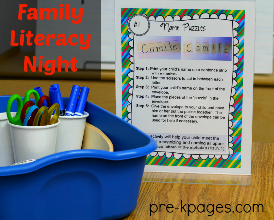 Family Literacy Night Printable Kit for #preschool #kindergarten