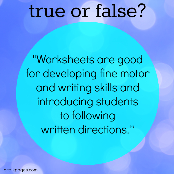 Are worksheets good for developing fine motor skills?