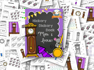 Hickory Dickory Dock Nursery Rhyme Printables for Preschool