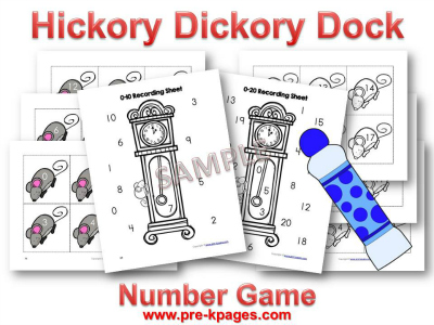 Hickory Dickory Dock Nursery Rhyme Printable  Number Identification Game