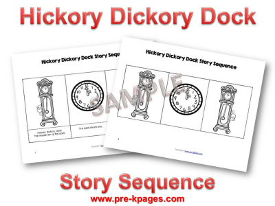 Hickory Dickory Dock Nursery Rhyme Printable Picture Sequence Cards