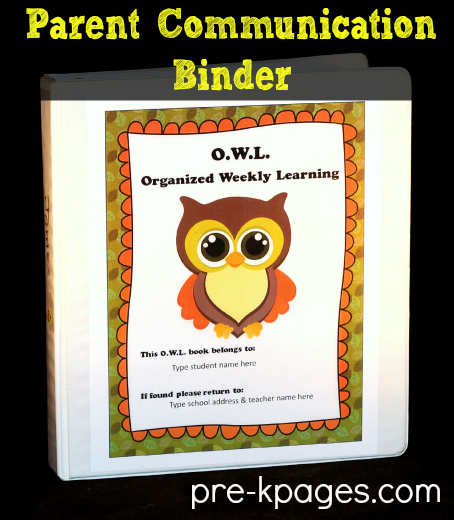 Parent Communication Binder Printables for Preschool and Kindergarten