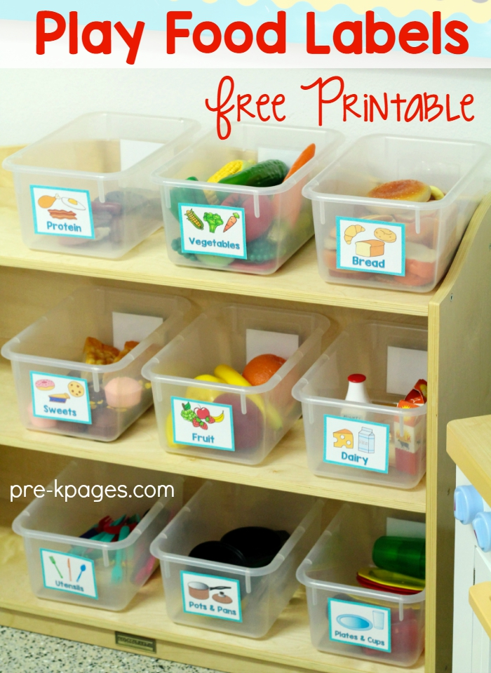Printable Food Labels for Dramatic Play
