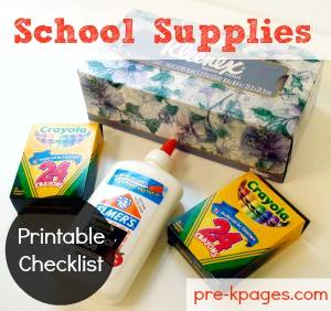 School Supply Checklist for Preschool and Kinder