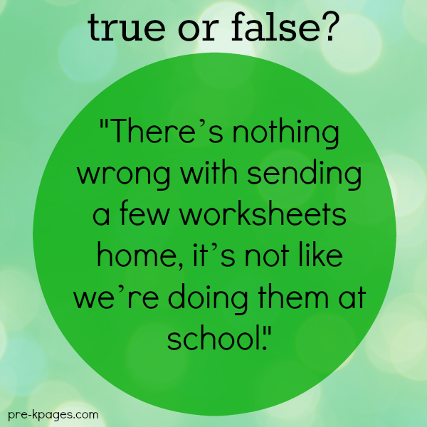 Sending Worksheets Home as Homework in Preschool