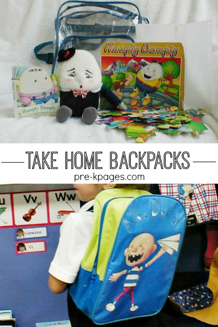 Take Home Backpacks for Preschool and Kindergarten. Fun and educational take home bags that kids and parents love!