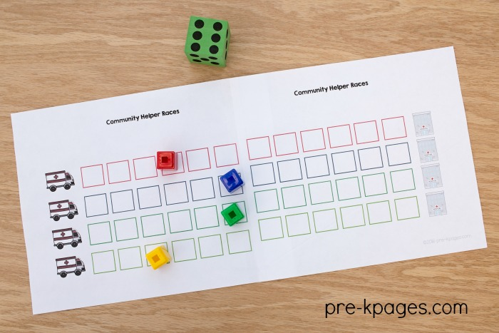 Community Helper Printable 4 Player Board Game