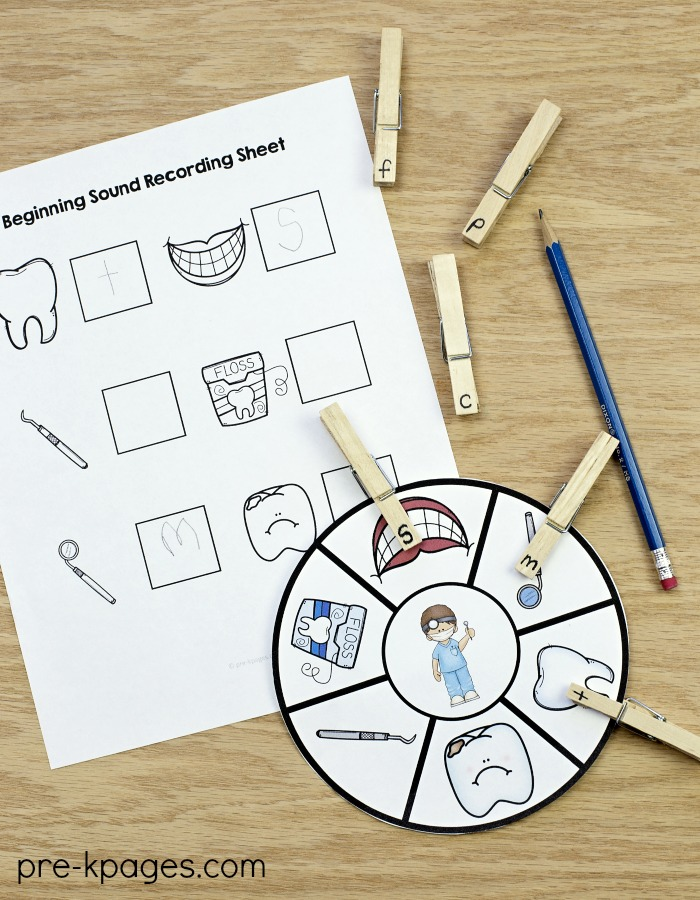 Dental Health Beginning Sounds Activity
