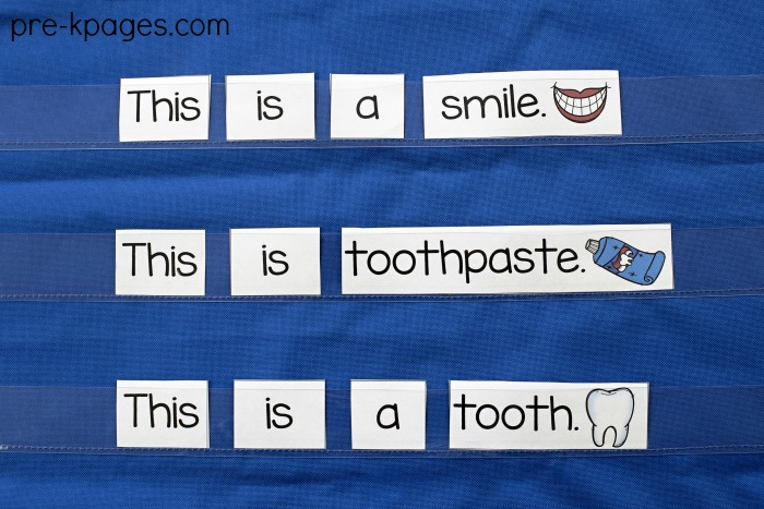 Dental Health Printable Pocket Chart Sentences