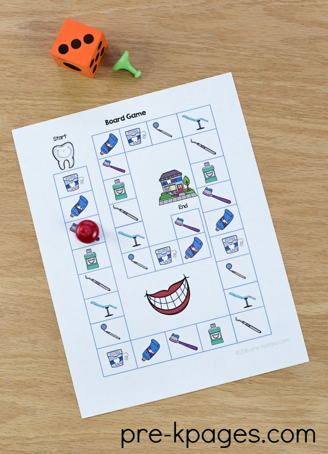 Printable Dental Health Board Game for Preschool