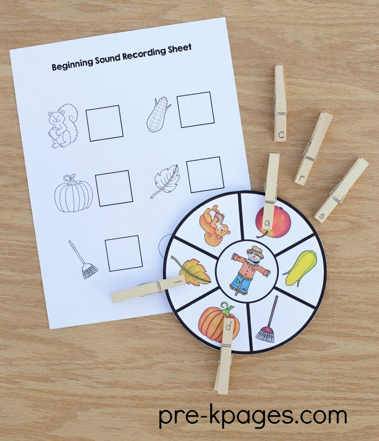 Printable Fall Beginning Sounds Game