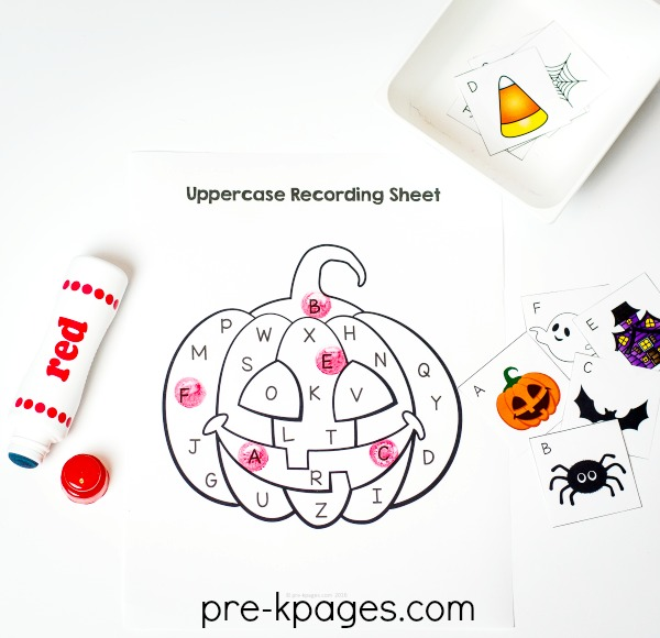 Printable Halloween Alphabet Game for Preschool and Kindergarten