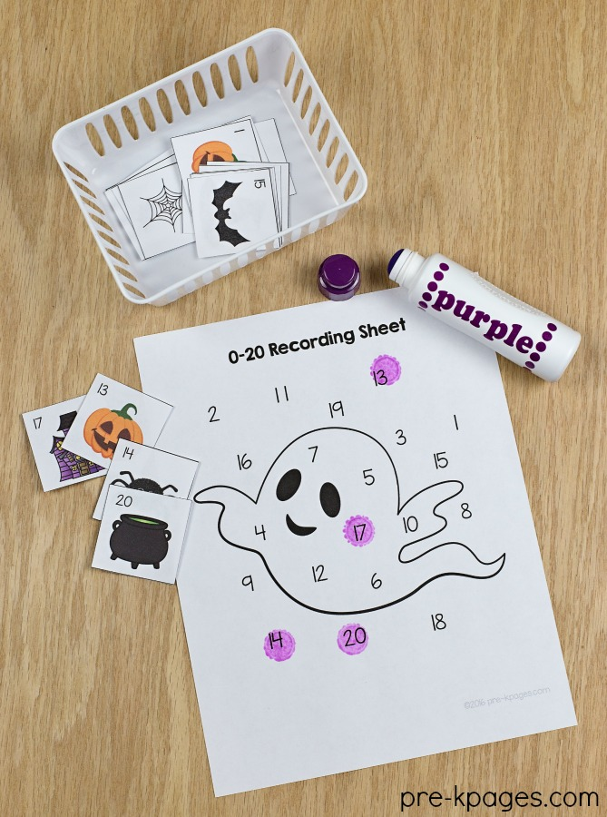 Printable Halloween Number Game and more Halloween activities for preschoolers