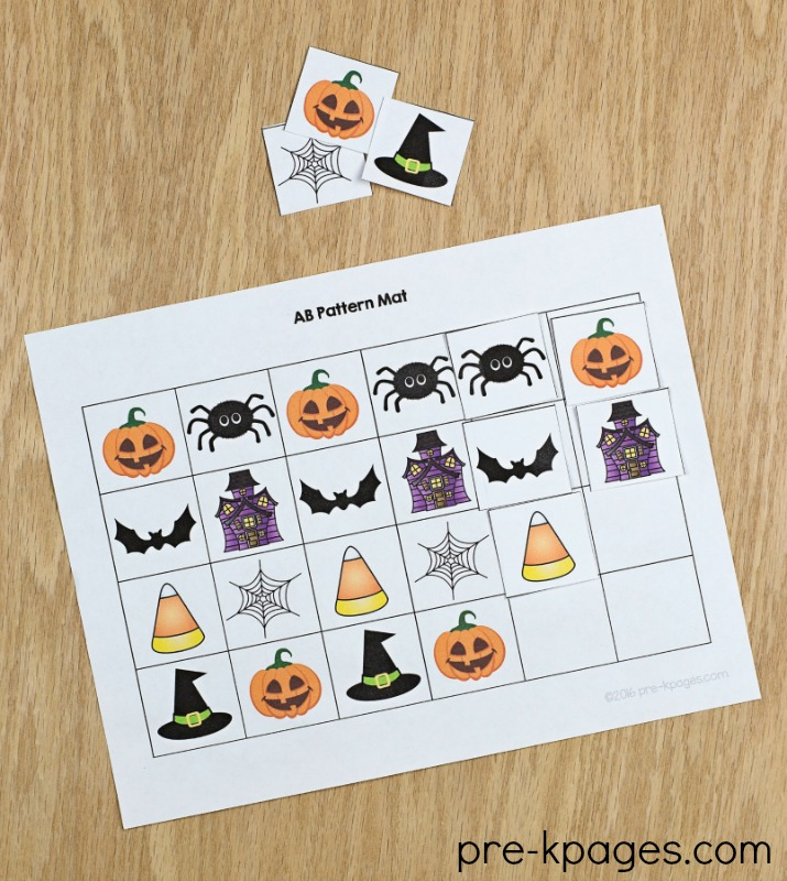 Printable Halloween Pattern Mats for Preschool