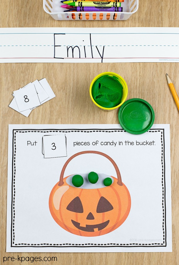 Printable Halloween Play Dough Counting Mats for Preschool
