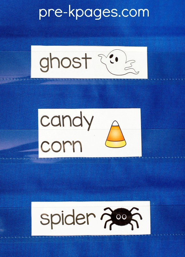 Printable Halloween Vocabulary Word Cards for Preschool and Kindergarten