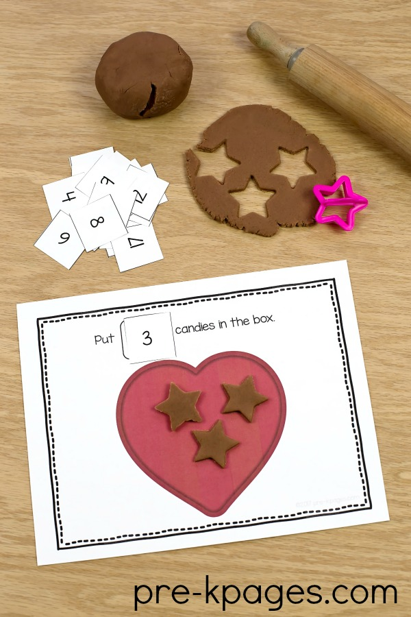 Printable Play Dough Counting Mats for Valentines Day