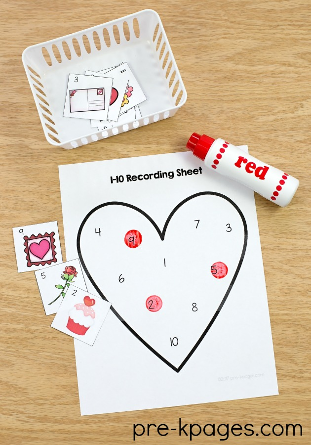 Printable Valentine Counting Game for Preschool