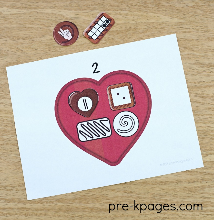 Printable Valentine Number Sense Activity for Preschool