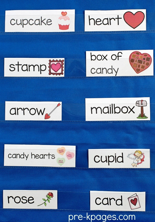 Printable Valentines Day Vocabulary Picture Cards