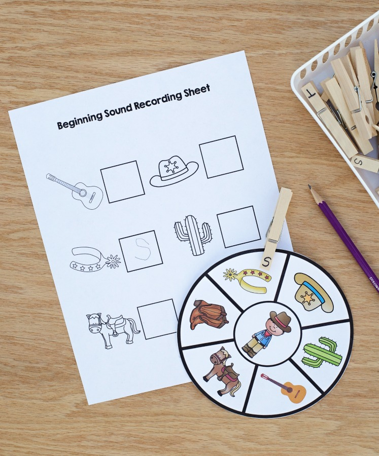 Printable Western Theme Beginning Sounds Activity