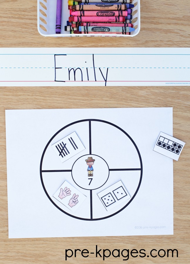 Printable Western Theme Number Sense Activity for Preschool
