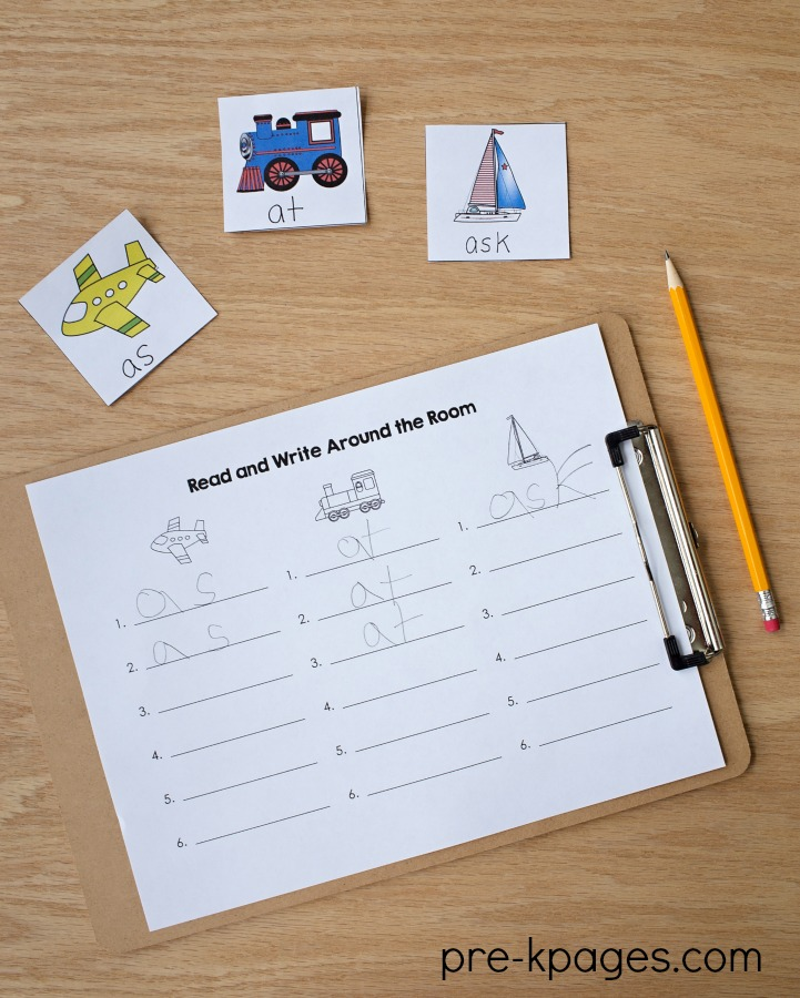 Transportation Read and Write Around the Room Activity for Preschool and Kindergarten