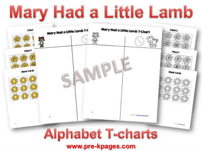 Printable Mary Had a Little Lamb Alphabet Sorting Activity