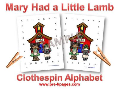 Mary Had a Little Lamb Alphabet Identification Activity