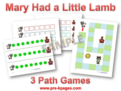 Mary Had a Little Lamb Printable Math Games for Preschool
