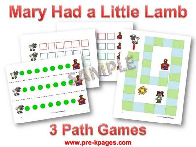 Mary Had a Little Lamb Printable Math Games for Preschool
