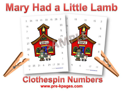 Mary Had a Little Lamb Clothespin Number Activity