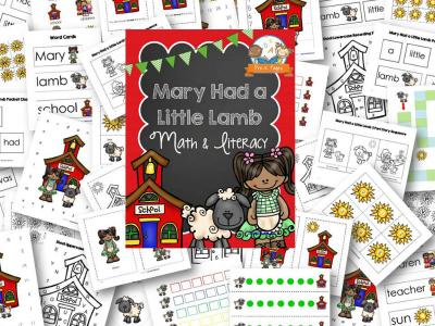 Mary Had a Little Lamb Nursery Rhyme Printables