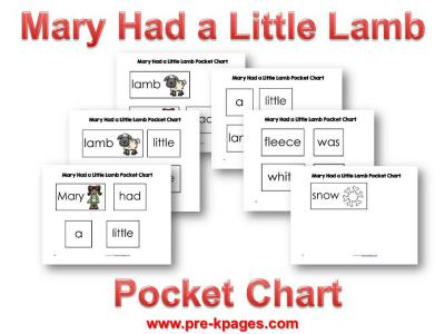 Mary Had a Little Lamb Printable Pocket Chart