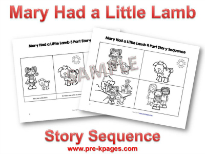 Printable Mary Had a Little Lamb Sequence Pictures
