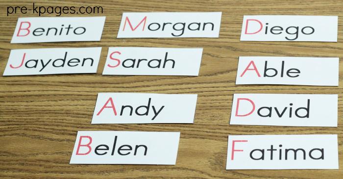 Name Cards in Preschool