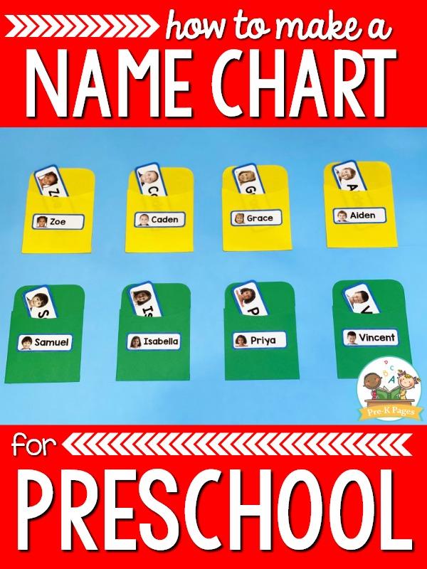 Preschool Name Chart Directions